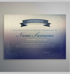 Horizontal certificate template design vector