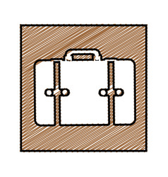 Color pencil drawing square frame with suitcase vector