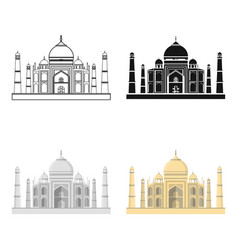 Taj mahal icon in cartoon style isolated on white vector
