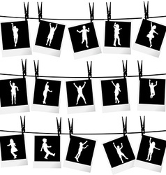 Collection of photo frames hanging on rope with vector image