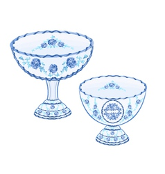 Faience cups decoration ceramic porcelain vector