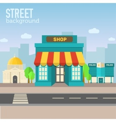 Shop building in city space with road on flat syle vector