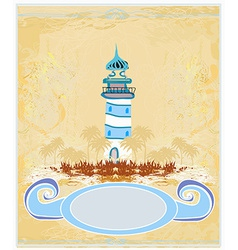 Retro background with lighthouse vector