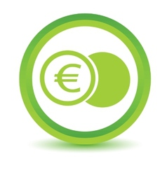 Green euro coin icon vector image