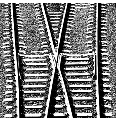 Railway tracks and switch vector