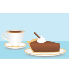 Cup of coffee with slice of chocolate pie vector
