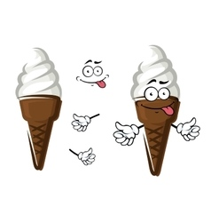 Cartoon ice cream in chocolate wafer vector