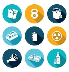 Waste and recycling icons set vector