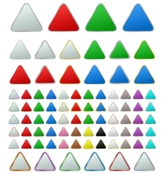 Color metallic rounded triangle button set vector