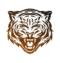 Aggressive tiger face line art style vector