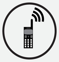 Mobile phone icon monochrome black white vector