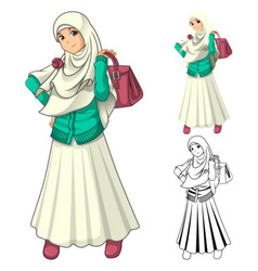 Muslim girl fashion wearing veil or scarf vector