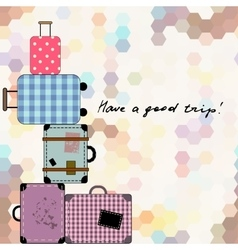 Background with suitcases vector