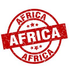 Africa red round grunge stamp vector