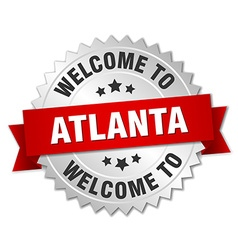 Atlanta 3d silver badge with red ribbon vector