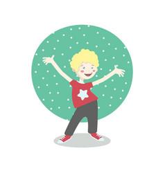 cheerful little boy having fun vector image