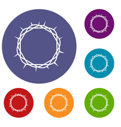 Crown of thorns icons set vector