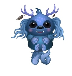 Cute smiling blue monster with horns and big eyes vector