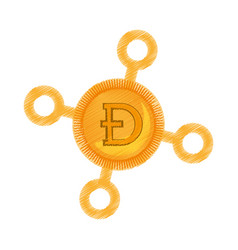 Drawing dogecoin web icon vector