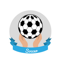 Emblem soccer game icon vector