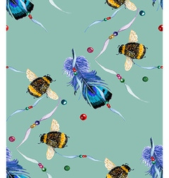 Feather and bee blue green pattern vector image
