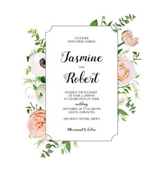 floral card design light pink garden rose vector image vector image