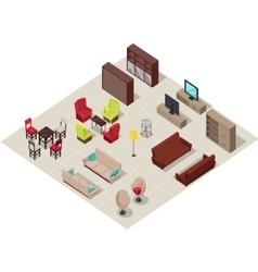 Furniture set isometric design vector