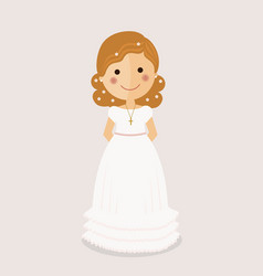 girl communion with curly hair on ochre background vector image vector image