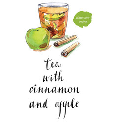 Glass cup of tea with dried cinnamon sticks vector