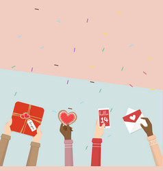 Hand holding gift of valentines day vector