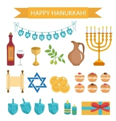 Hanukkah set of cartoon icons Hanukkah Icons with vector image vector image