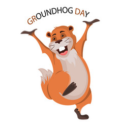 happy groundhog day design with cute groundhog vector image vector image