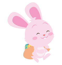 happy pink bunny easter theme vector image