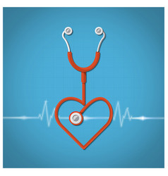 Heart shape stethoscope valentines day background vector