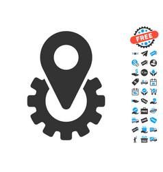 industry gear location marker icon with free bonus vector image vector image