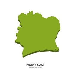 Isometric map of ivory coast detailed vector
