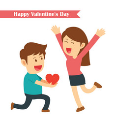 Male kneeling giving red heart for his girlfriend vector