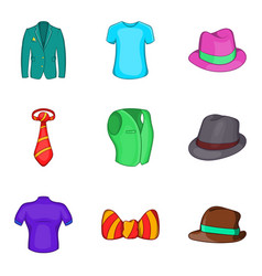 man elegant clothes icon set cartoon style vector image