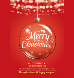 merry christmas party and glass ball for flyer vector image vector image