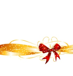 Red bow on a golden ribbon background vector image vector image