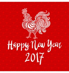 Red poster of a white rooster isolated on red vector