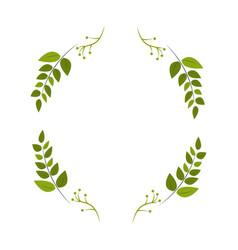 Round plant branch decoration design vector
