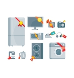 Sale discount household appliances with red tags vector