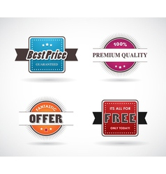 Set of four colored labels vector image