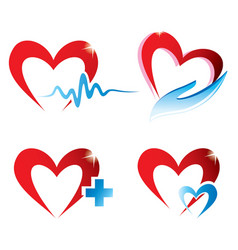 set of hearts icons medicine concept vector image