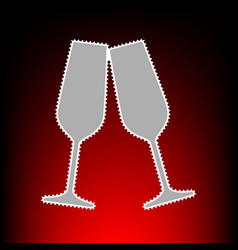 Sparkling champagne glasses postage stamp or old vector