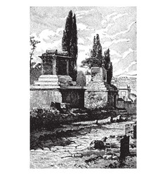 Tombs of pompeii people being buried in chamber vector