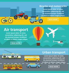 transportation banner horizontal set flat style vector image