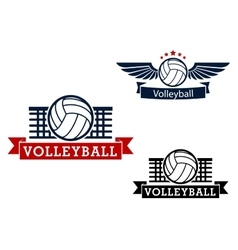 Volleyball emblems with game items vector