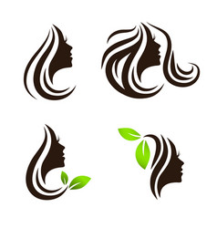 Woman beauty hair spa salon logo design set vector